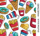 seamless pattern of fast food... | Shutterstock .eps vector #446825680