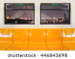 yellow seats in electric train... | Shutterstock . vector #446843698