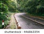 wet road in tropics of bali... | Shutterstock . vector #446863354