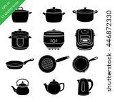 kitchen utensils black icons | Shutterstock .eps vector #446872330