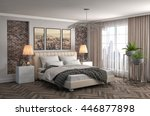 bedroom interior. 3d... | Shutterstock . vector #446877898