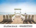 romantic wedding setting on the ... | Shutterstock . vector #446885500