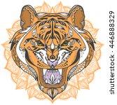 wild tiger head zentangle... | Shutterstock .eps vector #446888329