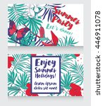 cards for summer party with... | Shutterstock .eps vector #446911078