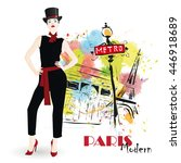 fashion girl in sketch style.... | Shutterstock .eps vector #446918689