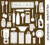 doodle kitchen set. hand drawn... | Shutterstock .eps vector #446919784