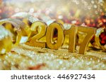 new year decoration closeup on... | Shutterstock . vector #446927434