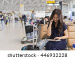 asia woman talking mobile phone ...   Shutterstock . vector #446932228