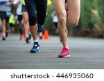 people running in the park for... | Shutterstock . vector #446935060