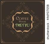 flourish art deco frame with... | Shutterstock .eps vector #446937058