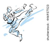 karate kick  vector illustration | Shutterstock .eps vector #446937523