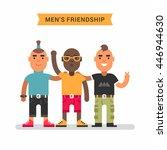 men's friendship. three friends ... | Shutterstock .eps vector #446944630