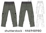 cargo pants vector template | Shutterstock .eps vector #446948980
