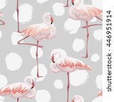 pink flamingo seamless pattern | Shutterstock .eps vector #446951914