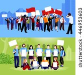 demonstration protest people... | Shutterstock .eps vector #446953603