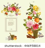 herbal vertical banner with... | Shutterstock . vector #446958814