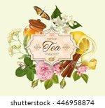 Vector Herbal Tea Vintage...