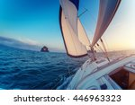 sailing vessel moving in the... | Shutterstock . vector #446963323