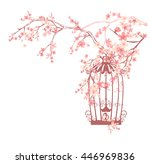 vintage bird cage among pink... | Shutterstock .eps vector #446969836