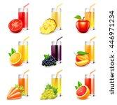 fruit juice icons detailed... | Shutterstock .eps vector #446971234