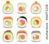 sushi roll icons detailed photo ... | Shutterstock .eps vector #446971258