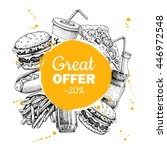 fast food special offer. hand... | Shutterstock . vector #446972548