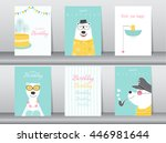 set of birthday cards poster... | Shutterstock .eps vector #446981644