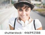 half length of young beautiful... | Shutterstock . vector #446992588