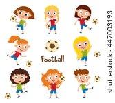 vector illustration of girls in ... | Shutterstock .eps vector #447003193