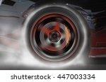 Sport Car Burning Rear Tire To...