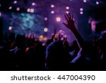 crowd in front of concert stage ... | Shutterstock . vector #447004390