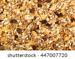background of muesli with dried ... | Shutterstock . vector #447007720