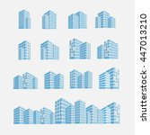 set of building icon vector... | Shutterstock .eps vector #447013210
