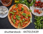 italian pizza with tomatoes and ... | Shutterstock . vector #447015439
