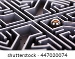 close up of a grey labyrinth or ... | Shutterstock . vector #447020074