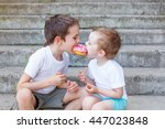 divide the a donut in half. two ...   Shutterstock . vector #447023848