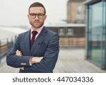 confident stylish businessman... | Shutterstock . vector #447034336
