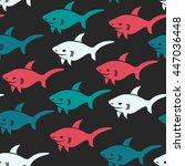 shark.vector seamless pattern... | Shutterstock .eps vector #447036448