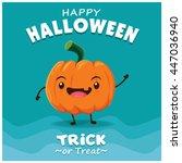 vintage halloween poster design ... | Shutterstock .eps vector #447036940