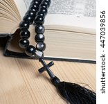 black stone christianity beads... | Shutterstock . vector #447039856