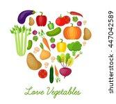 vegetable vector circle... | Shutterstock .eps vector #447042589