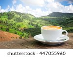 coffee cup in coffee time on... | Shutterstock . vector #447055960