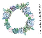 watercolor succulents wreath.... | Shutterstock . vector #447059758