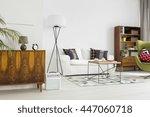stylish living room in white ... | Shutterstock . vector #447060718