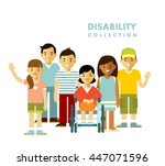 disability person friendship... | Shutterstock .eps vector #447071596