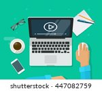 workplace with person working... | Shutterstock .eps vector #447082759