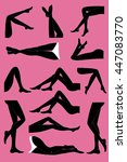 woman legs in different poses... | Shutterstock .eps vector #447083770