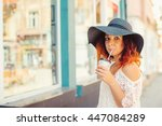 pretty girl with red hair in a...   Shutterstock . vector #447084289
