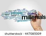 Stock photo millenials word cloud concept 447085009