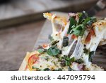 pizza with seafood and tomatoes ... | Shutterstock . vector #447095794